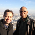 photo of Larry Koonse and Billy Childs taken on Eiffel Tower showing city of paris and horizon