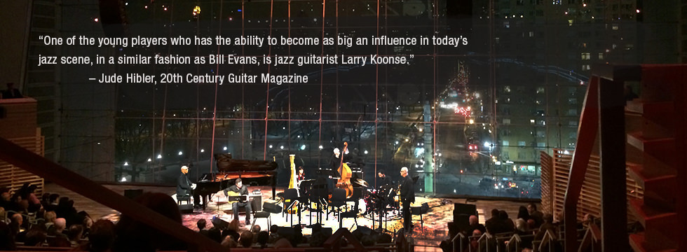 photo of Larry Koonse onstage Lincoln Center with Billy Childs Chamber Sextet with review quote