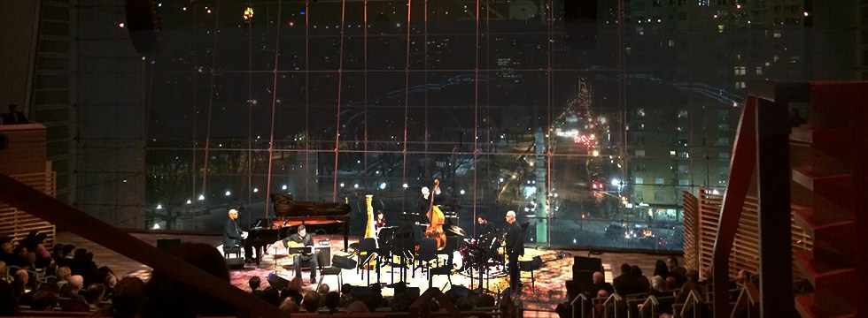 photo of Larry Koonse onstage Lincoln Center with Billy Childs Chamber Sextet